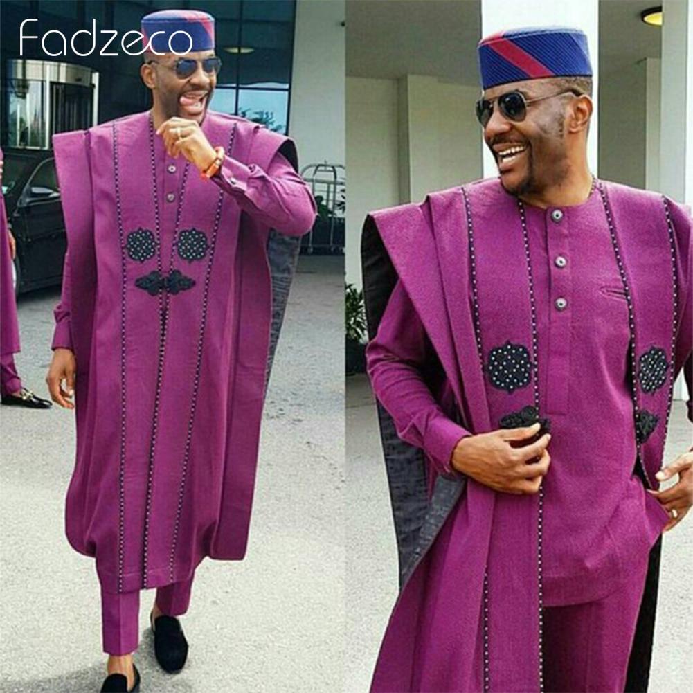 Fadzeco Agbada costumes africains pour hommes Dashiki hauts chemise pantalon affaires 3 pièces ensemble ethnique tenue formelle vêtements africains Bazin