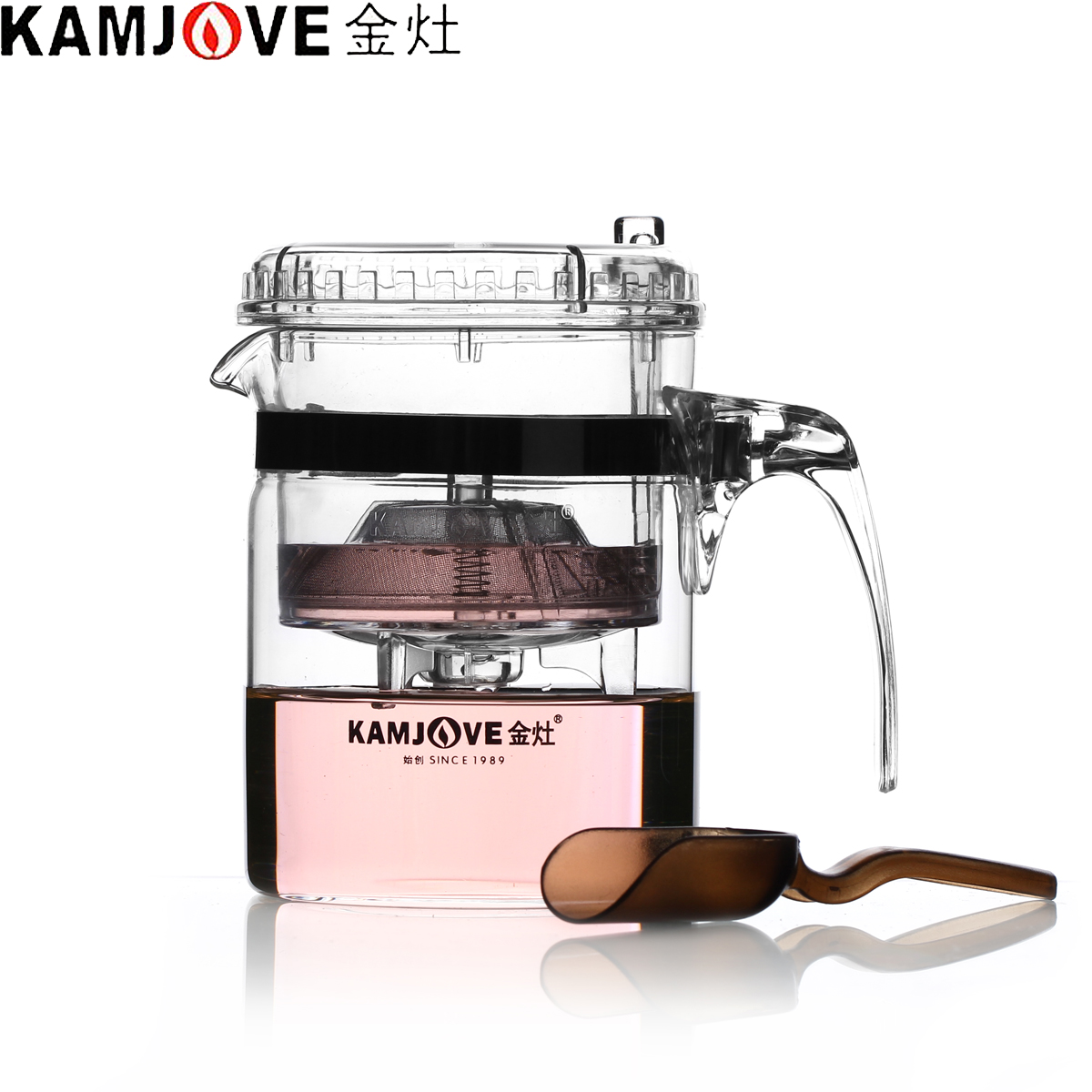 100% Genuine Kamjove TP-140 Art Tea Cup Teapot 300ml Glass Tea Kettle Strainer Elegant Cup AUTO-OPEN Tea Set Infuser De Cha