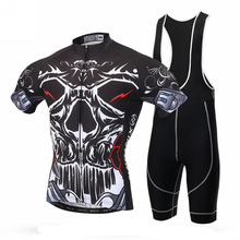 Cycling Bike Short Sleeve Clothing Bicycle Jersey Bib Shorts Set Black Devil