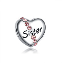 Free Shipping Pink Crystal Love Heart Sister Bead Charms Fit Pandora Diy Women Bracelets & Bangles Jewelry