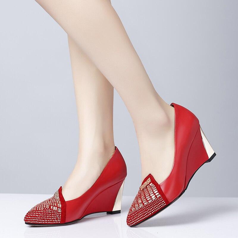 Universo cristal boda bombas cuña otoño primavera Slip on cuero genuino superficial desnudo Rojo Negro tacón Mujer Zapatos vestido c008 - 5