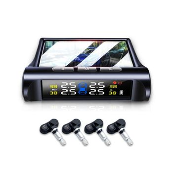 Tire Pressure Monitor Built-In External Tire Monitor Wireless Solar Detection TPMS