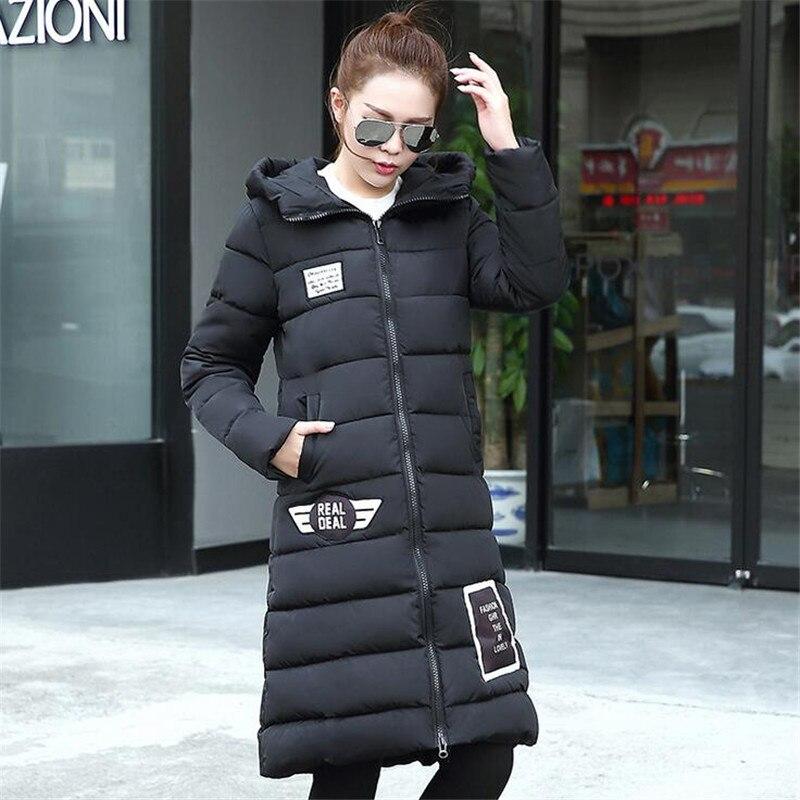 2016 Yeni Kış Ceket Kadınlar Uzun Rüzgar Geçirmez Pamuk Yastıklı Aşağı Ceket ve Coat Casual Kapşonlu Parka Kore Kadın Coat