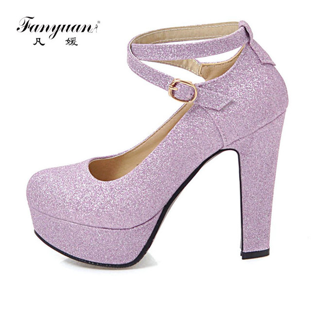 Fanyuan Mary Jane Heels Slip-Resistant Soles Ladies Footwear Bling PU Leather  Women s Dress Shoes Cross-tied Buckle Mujer 2018 55e631981877