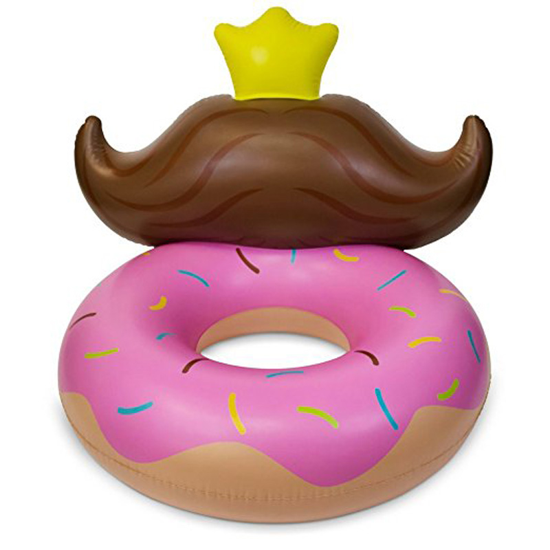 140cm Inflatable Donut Swimming Ring Pool Floats Floating Row with Cute Beard Arm Chair Kids Adults Summer Beach Water Pool Toys