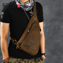 AETOO Retro style mens double layer crazy horse leather chest bag, head cross body bag