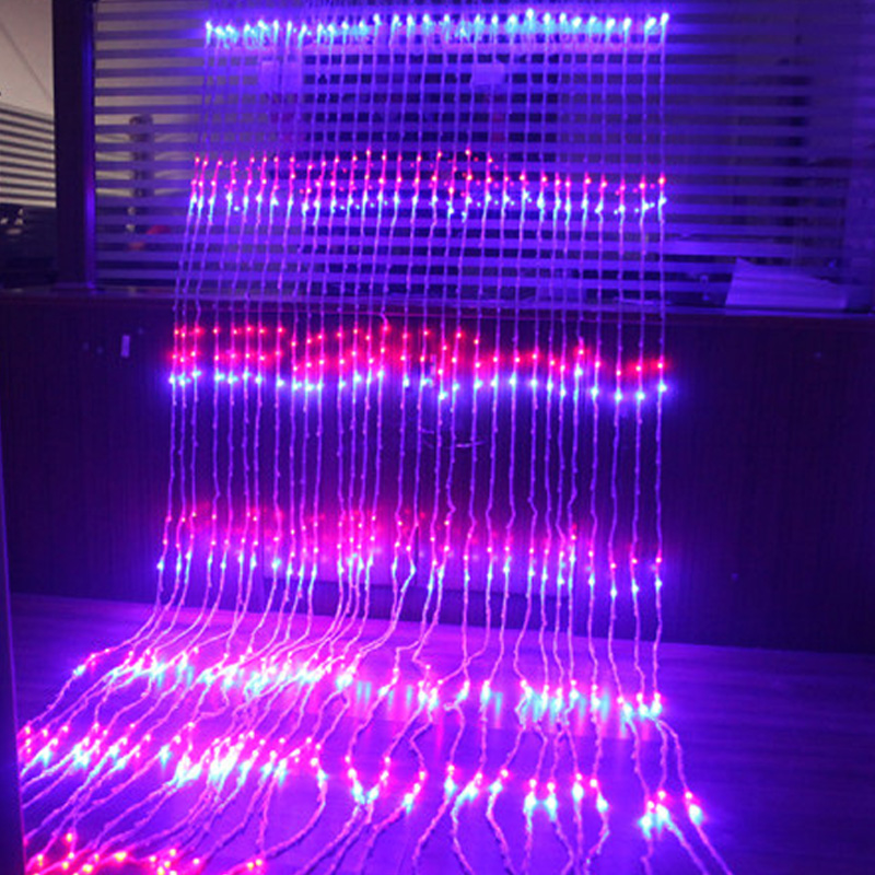 3m X 3m 320LED Christmas Wedding Party Background Holiday Running Water Waterfall Water Flow Curtain LED Light String Waterproof