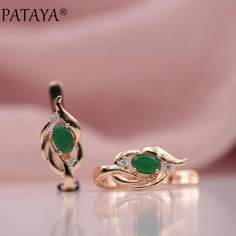 PATAYA 328 Anniversary New Women Wedding Party Jewelry 585 Rose Gold Oval Dark Blue Natural Zircon Dangle Earrings Accessories