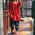 Mulheres Retro Irregular Hem Buttton Chinês Blusa Das Senhoras Botão artesanal Lençóis de Algodão Longas Camisas Feminino Cor Sólida Com Decote Em V Solto