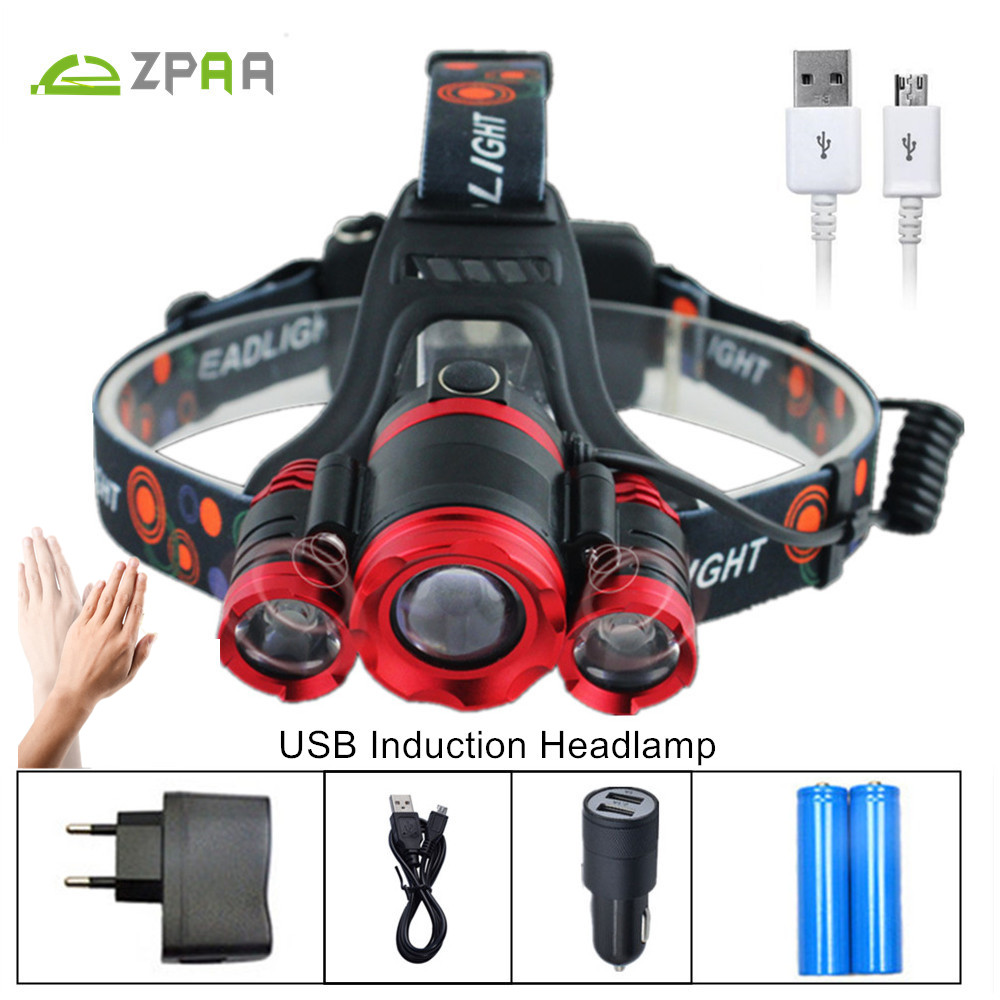 LED Headlamp Headlight USB IR Motion Sensor Head Lamp Light CREE XML T6 High Power 10000Lumens