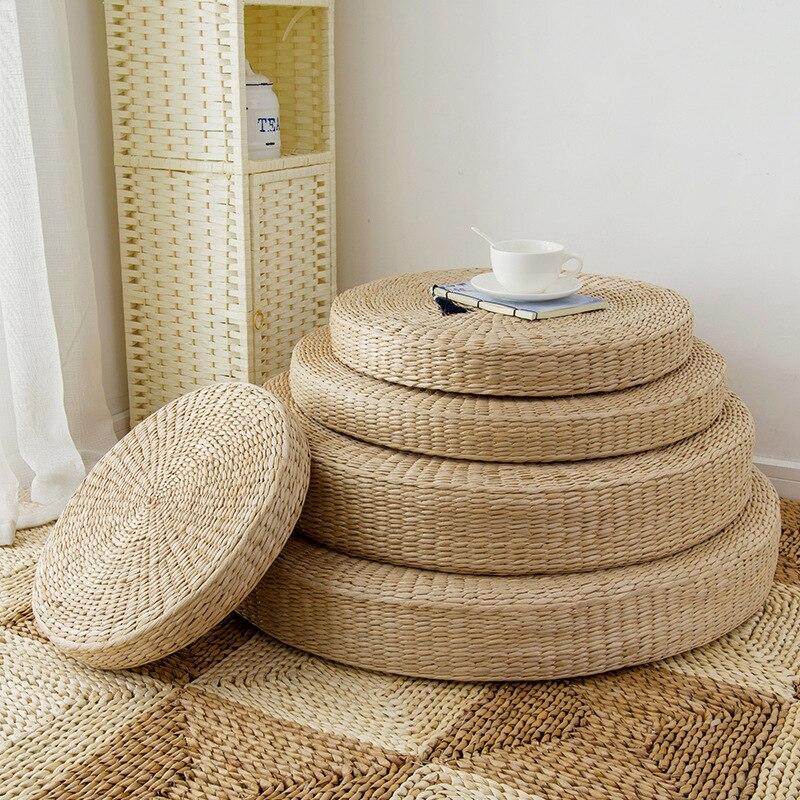 4 Size Hot Natuurlijke Stro Ronde Poef Tatami Kussen Vloer Kussens Meditatie Yoga Ronde Mat Zafu Stoel Kussen 40/45/50/60 Cm