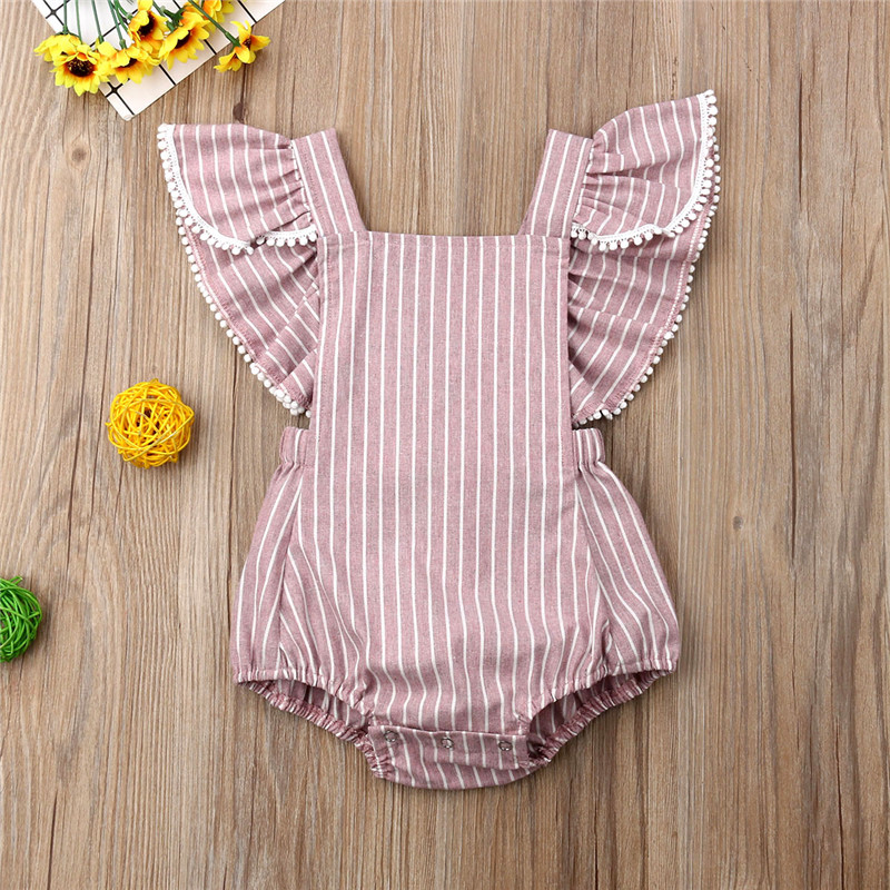 Sweet Baby Girls Striped Tassel Bodysuits Fashion Short Sleeve Sqaure Collar Slim Backless Jumpsuits Casual Cotton Baby Clothing