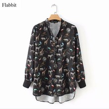 Flabbit vrouwen vintage leuke animal print kiel shirts blouse vrouwen v-hals casual slim femme blusas office business tops LX0386(China)