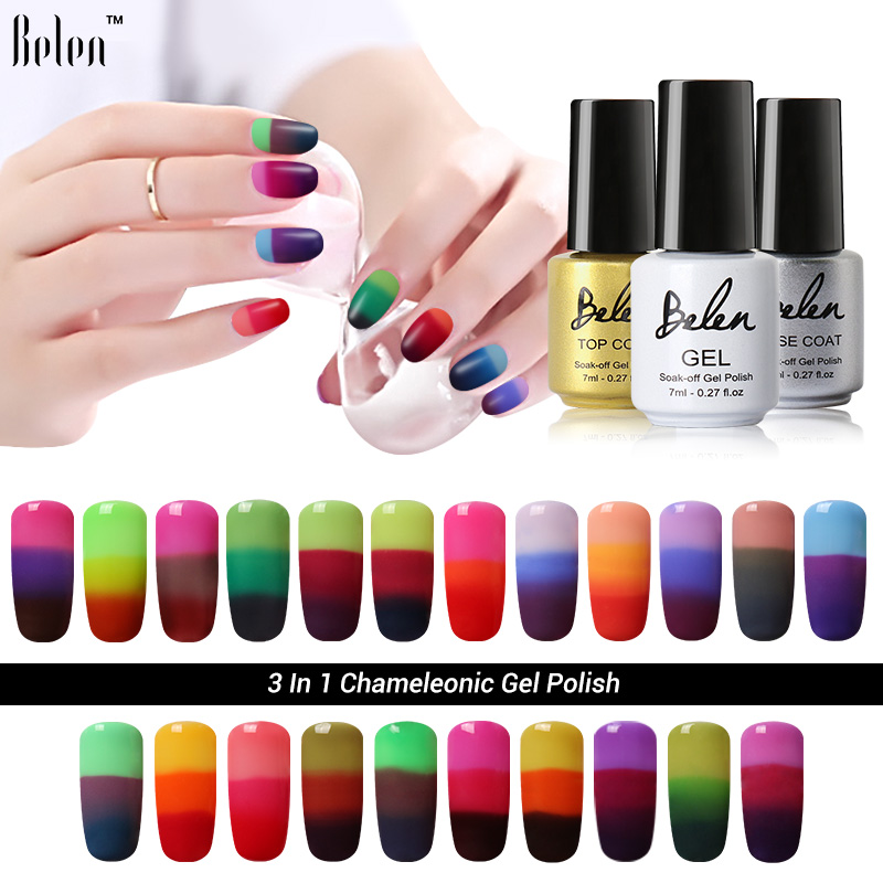 Color Changing Gel Nail Polish: Belen 3 In 1 Color Changing Nail Polish Peel Off Nail