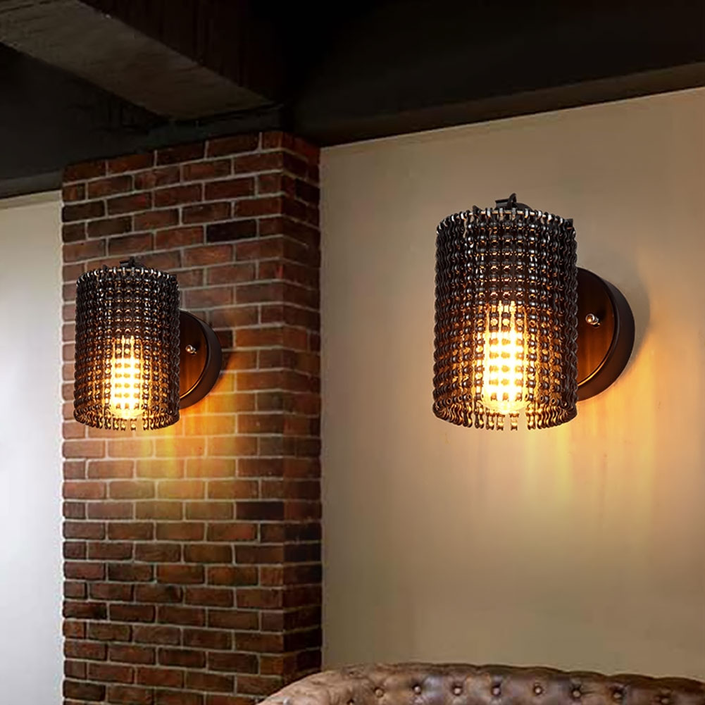 Loft Vintage Industrial Edison Wall Lamps Bicycle Chain
