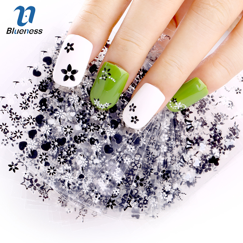 Blueness Charms 24Pcs/lot Manicure White&Black Flowers Design Nail Stickers DIY Decorations Tools For 3D Nail Art Decals JH154 1pcs water nail art transfer nail sticker water decals beauty flowers nail design manicure stickers for nails decorations tools