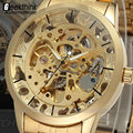 Homens de luxo do Relógio de Aço Cheio de Ouro Transparente Skeleton Automatic relógios Mecânicos Steampunk homens Relógio Relogio masculino 2015