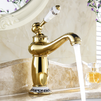 Bathroom Faucet Gold Color Brass finish Ceramic Flower Pattern Basin Sink Faucet Single Handle water taps anf501