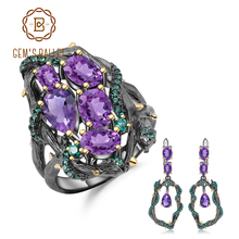 GEMS BALLET 925 Sterling Silver Vintage Jewelry Set 7.58Ct Natural Amethyst Gemstone Handmade Ring Earrings Sets For Women