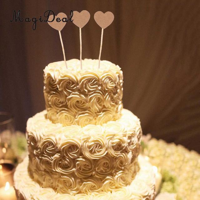 100pcs Country Kraft Love Heart Cake Pick Stick Wedding Party