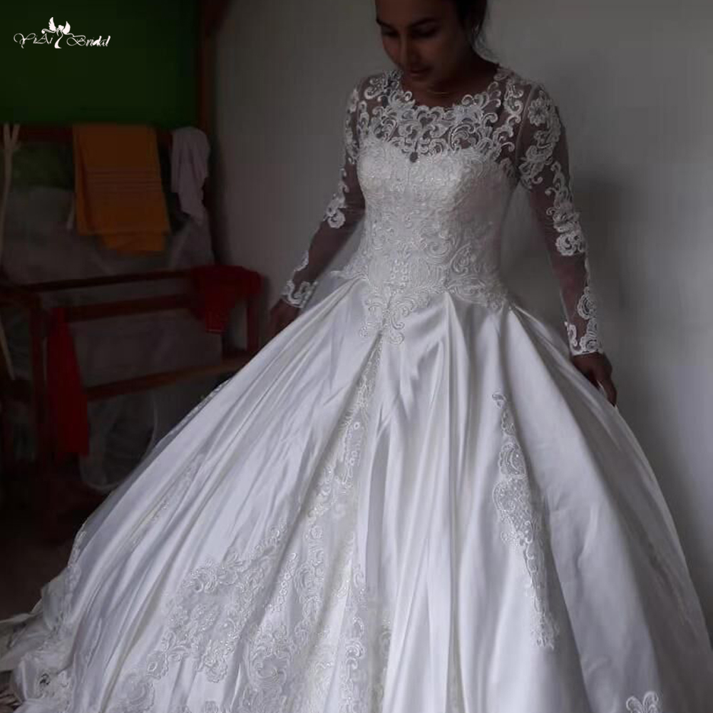 Full Sleeve Wedding Gown: LZ274 Real Pictures Ivory Satin Wedding Dress Full Sleeve