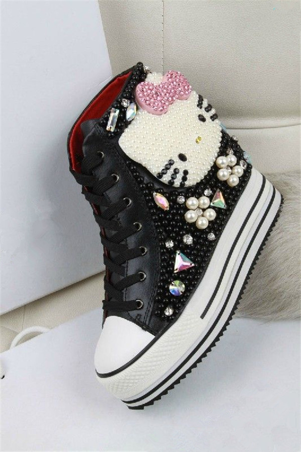 7f8259dbe777 Latest Platform Shoes Women Desigual Cute Hello Kitty Pattern Beading Shoes  Casual High top Height Increasing Sapatos Femininos-in Men s Casual Shoes  from ...