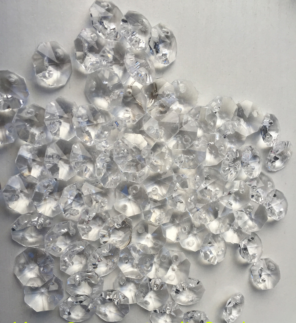 200PCS/lot, 14mm Acrylic Octagonal Beads Diy Garland Strands(+200pc Rings) Chandelier Prism Parts Curtain Pendant