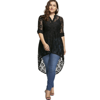LANGSTAR 2017 Autumn Fashion Plus Size 5XL Black Lace Long Top Oversized Long Sleeve V Neck