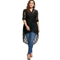 LANGSTAR 2017 Autumn Fashion Plus Size 5XL Black Lace Long Top Oversized Long Sleeve V Neck