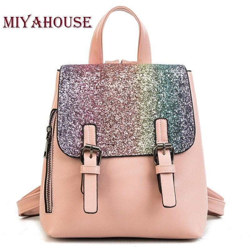 Miyahouse Fashion Backpack Sequins Small Backpacks For Teenage Girls Gold Shining Bagpack Women Casual Travel Rucksacks цена