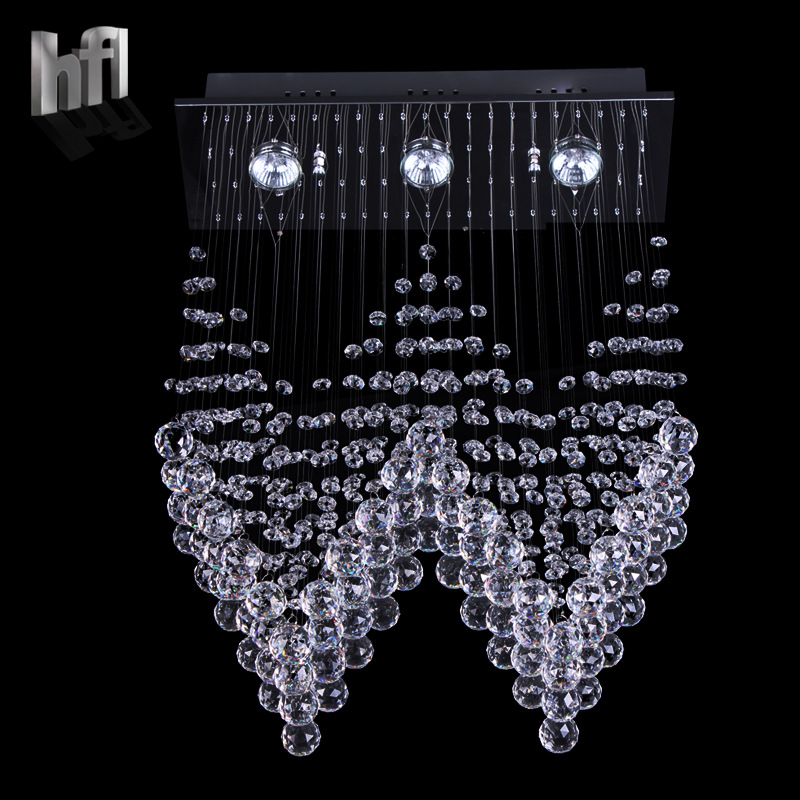 Simple Modern K9 Crystal Wire Hanging Lamp Double Staircase Lobby Chandelier 80015 Villa Living Room