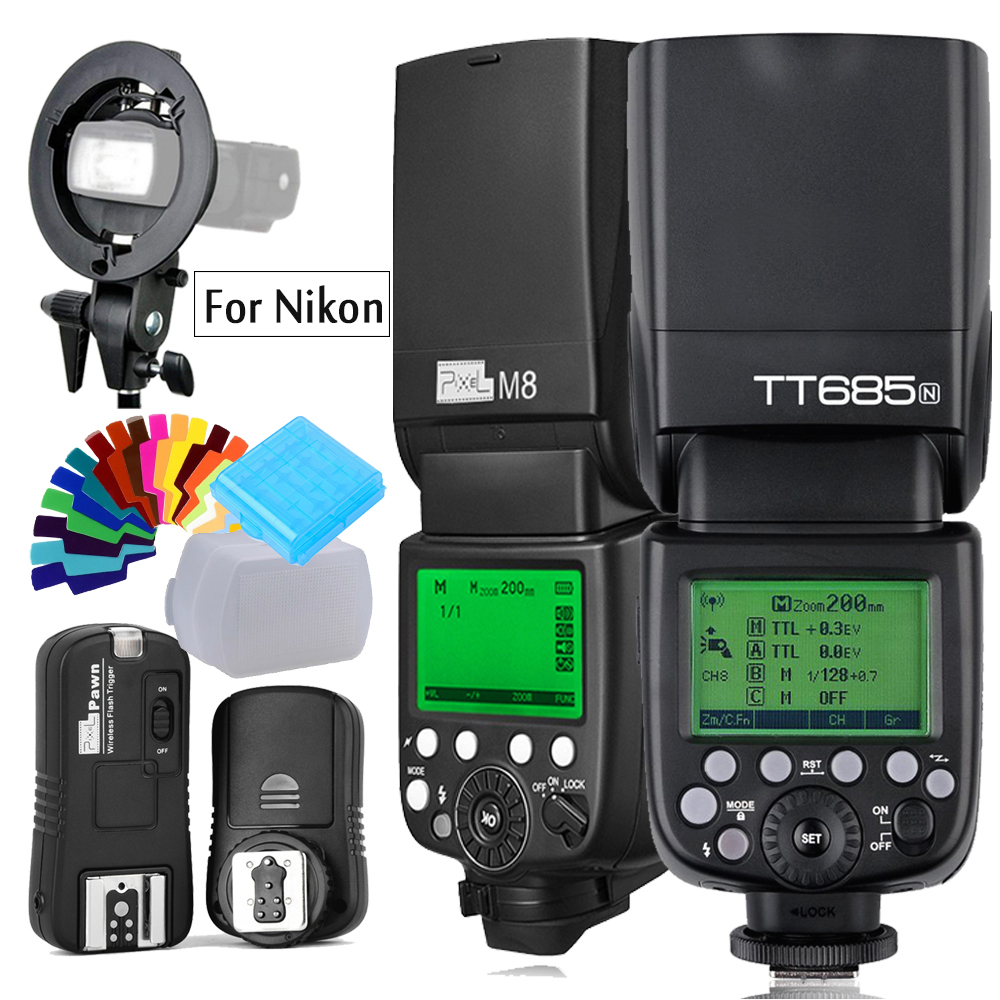 Godox TT685N 2.4G Flash TTL HSS Camera Flash speedlite+Trigger OR IN560IV plus Wireles Flash OR PIXEL M8 LCD Flash For Nikon стоимость