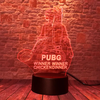 Playerunknown's Battlegrounds PUBG Merchandise Battle Royale PUBG Game Figure 3D Nightlight Visual Illusion LED 7 Colors Changing Light Desk Lamp Light-up Toys 2