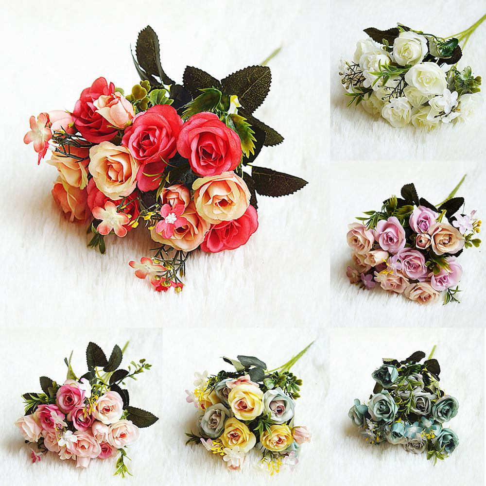 1 Bunch Beautiful Rose Peony Artificial Silk Flowers Small Wedding Decoration Marriage Engagement Fake Flower Wedding Bouquet