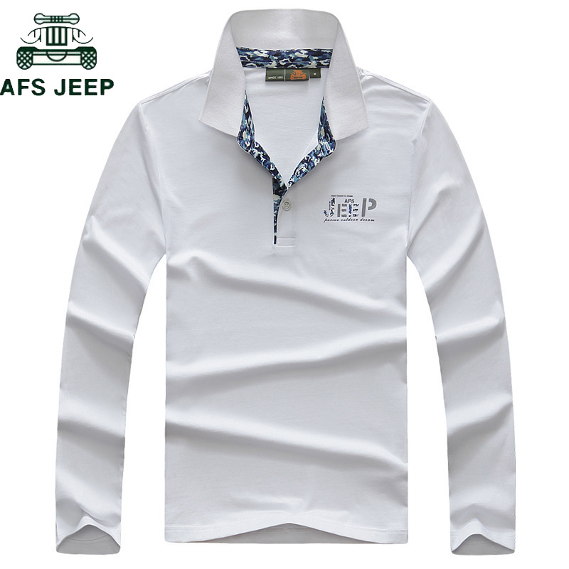 AFS JEEP High Quality Cotton Polo Shirt Men Casual Turn down Collar Long Sleeve polo hombre Anti Pilling Breathable Camisa Polos