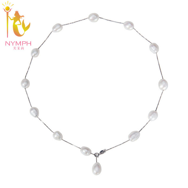 [NYMPH] 925 sterling silver jewelry natural pearl jewelry white baroque pearl jewelry necklace pendant for women x1213