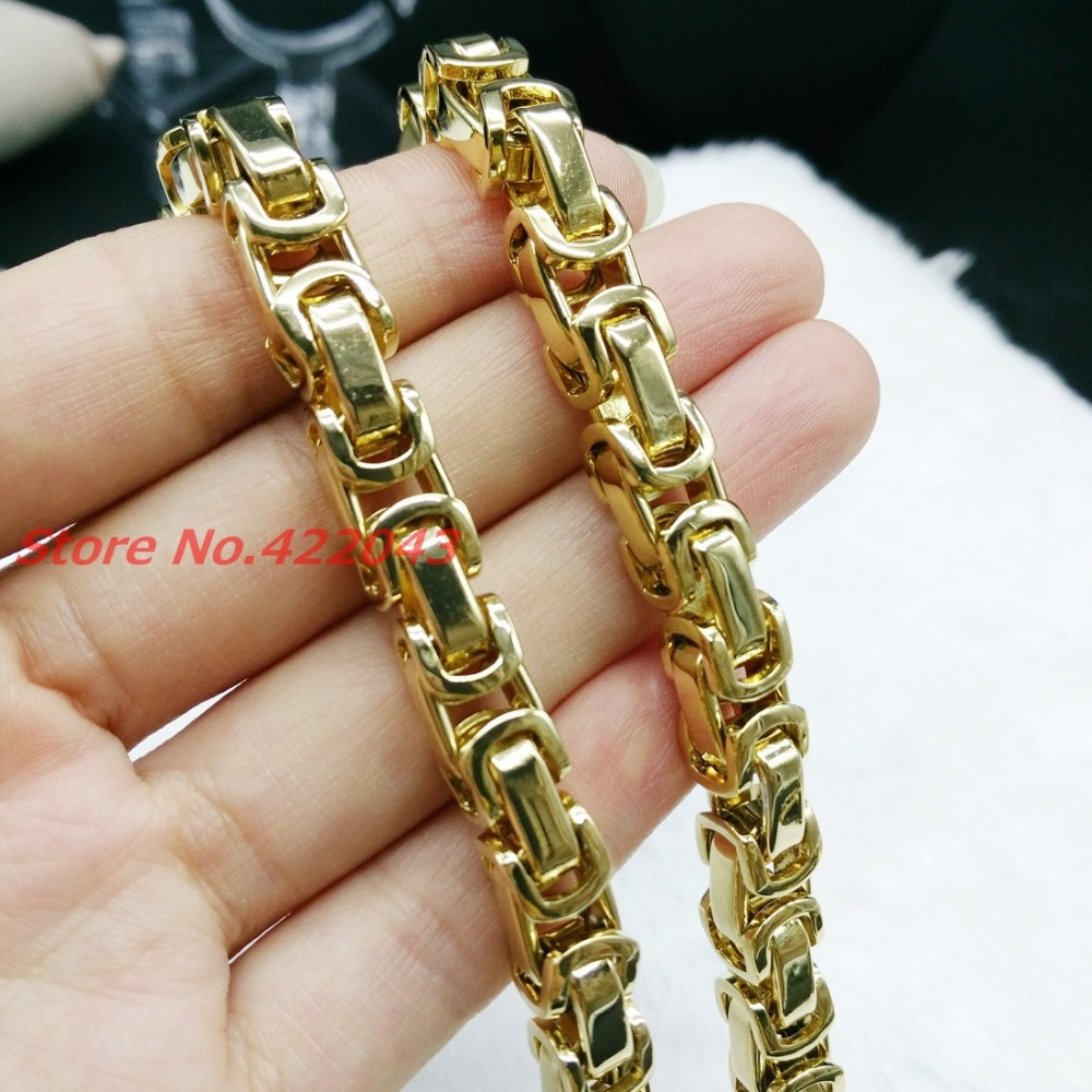 Mens Boys 8mm Box Byzantine Necklace or font b Bracelet b font font b Gold b