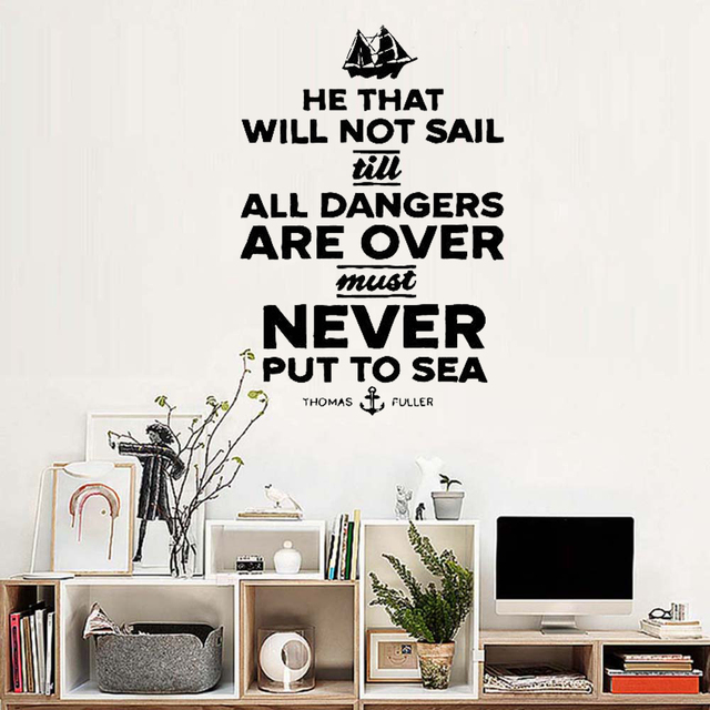 Sailing Quote Ship Navy Wall Sticker Living Room Decor Decal Vintage Magnificent Quotes Wall Art