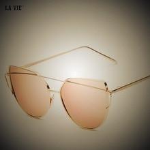 Women Sunglasses Cat Eye 2017 Hot Mirror Rose Italian Designer Vintage Sun Glasses Unique Flat Ladies Sunglasses Gafas Oculos