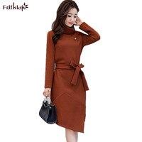 Fdfklak Fashion Knitted Wool Dress Women Autumn Winter Dresses Female Long Sleeve Stand Collar Women's Dress Vestidos Mujer