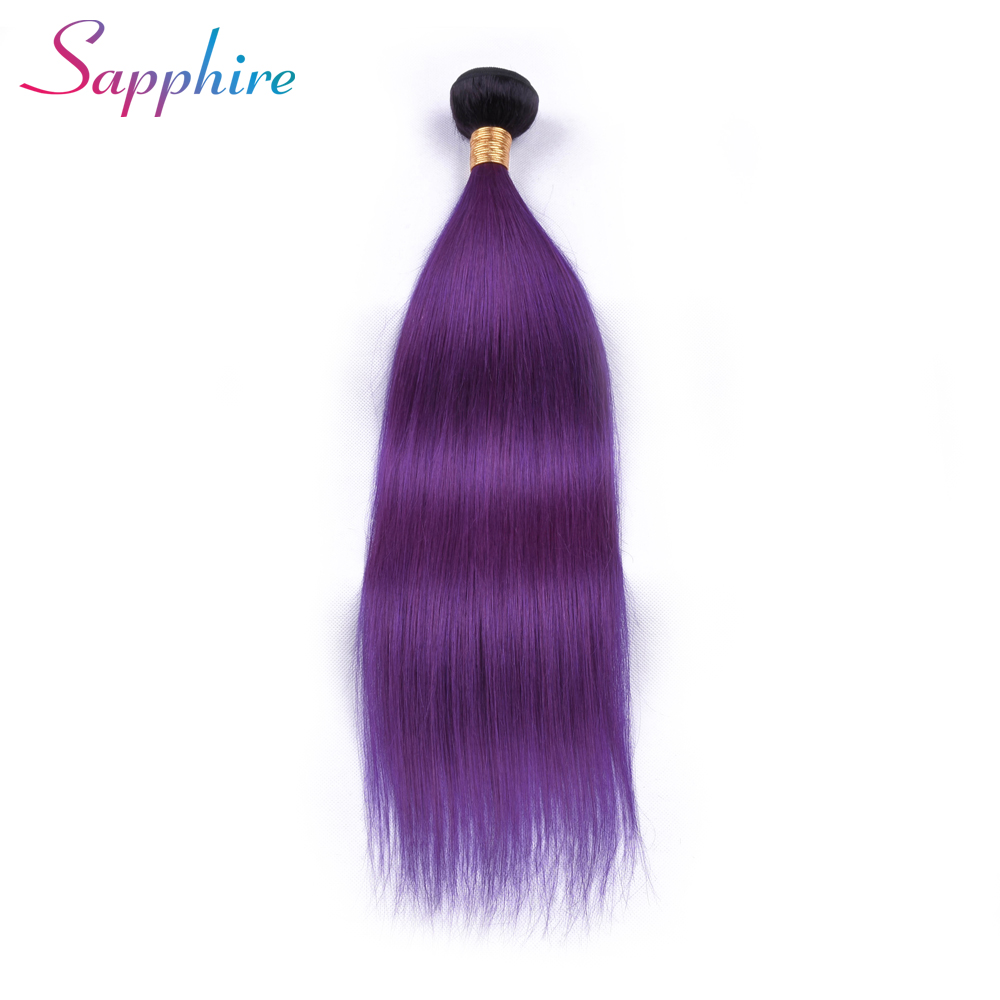 Sapphire Hair Ombre Brazilian Hair Straight Bundles 1B/Purple 2 Tone Non Remy Human Hair Weave 1 Piece Free Shipping