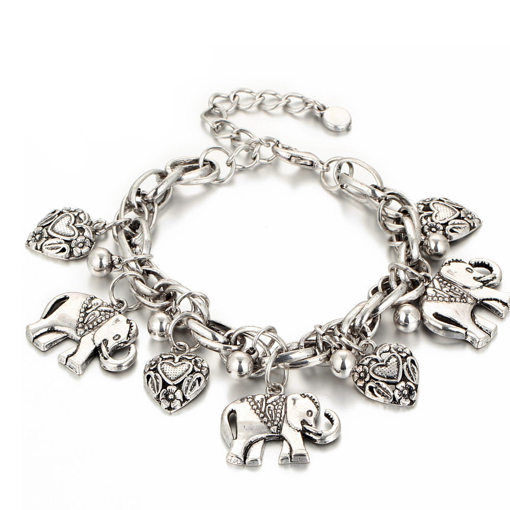 Vintage Elephant Pendant Anklet Bracelet 2018 Fashion Jewelry For Women Foot Chain Ethnic Metal Heart Anklets Best Gift