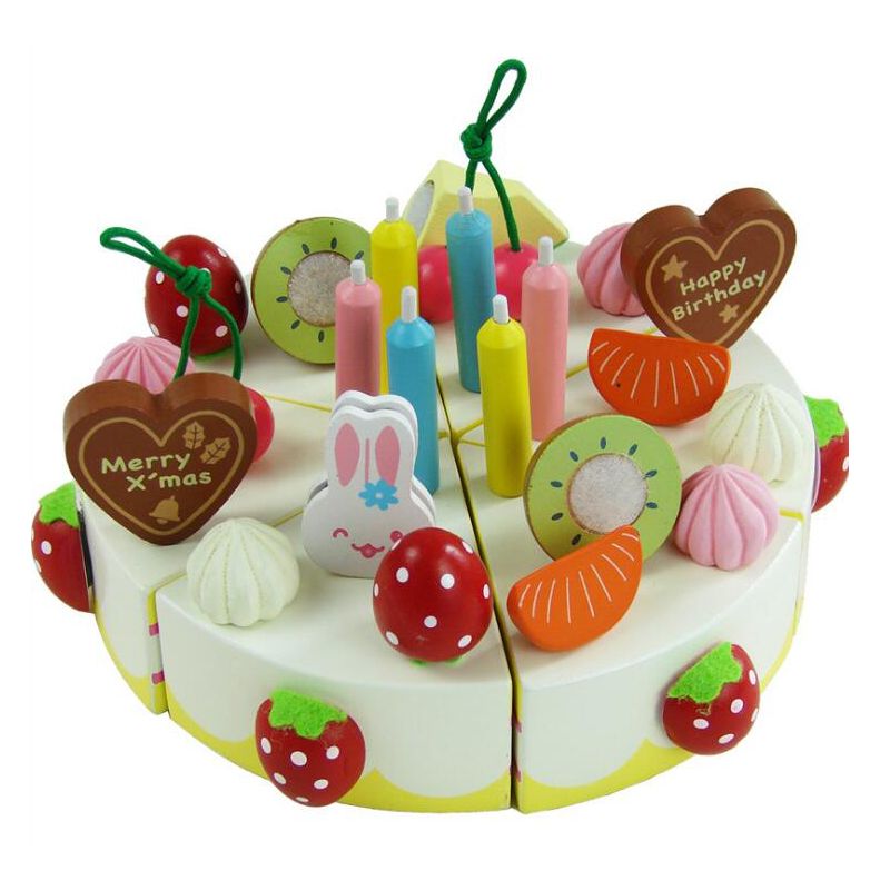 DIY Children Kitchen Toys Pretend Cutting Birthday Cake Fruit Cream Plastic Play Food Tea Set house