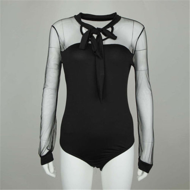 New 2020 Summer Bodysuit Women Sexy Bow Black Mock Neck Patchwork Long Sleeve Back Ladies Lace Mesh Bodysuit Transparent Tops 4