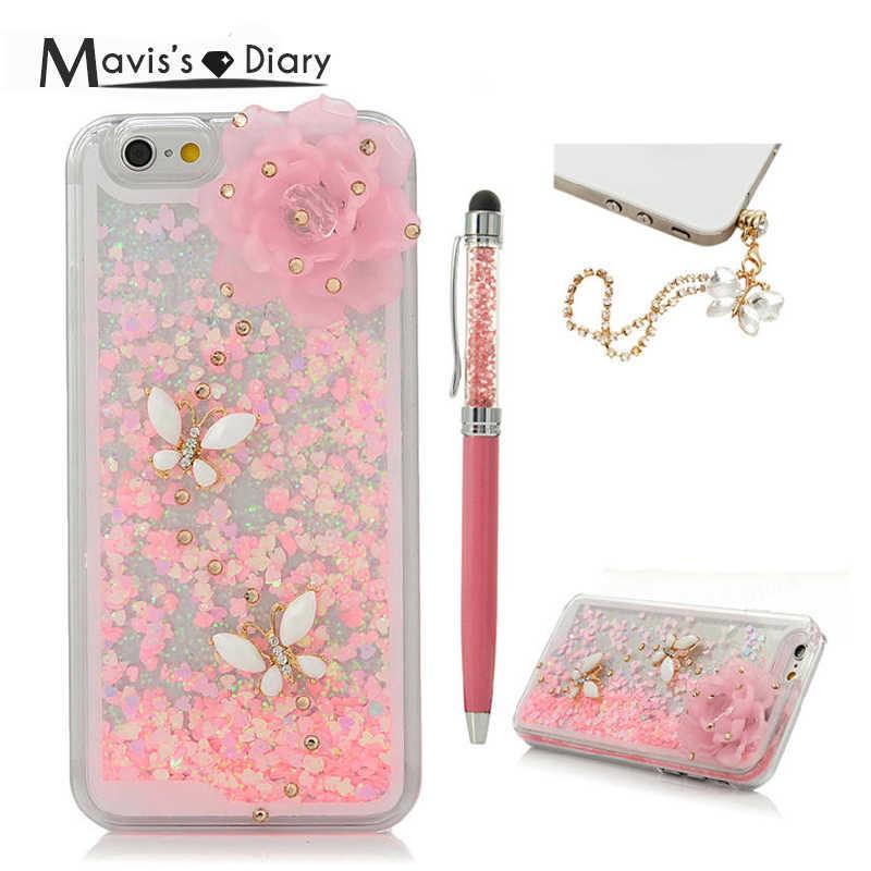 Модные блестящие зыбучие пески случае Bling алмазов Твердый переплет для iPhone 5 5S SE 6