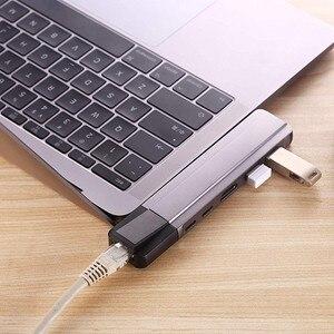 Image 5 - USB C רכזת סוג C מתאם Thunderbolt 3 כדי 4K HDMI Gigabit Ethernet עם 1000Mbps 2 USB 3.0 יציאות USB C טעינה עבור Macbook Pro