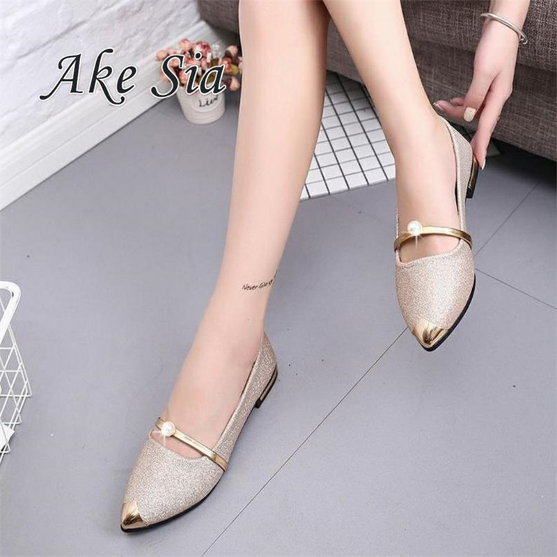 Women Shoes Flats 2017 Fashion  Breathable Casual Shoes Woman Flat Pointed Toe  Comfortable Good Quality Walking Loafers f278 pu pointed toe flats with eyelet strap