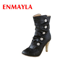 ENMAYLAผู้หญิงกลางลูกวัวบู๊ทส์สำหรับฤดูใบไม้ผลิ/ฤดูใบไม้ร่วงฤดูกาลสไตล์แฟชั่นส้นสูงรองเท้าผู้หญิงที่น่ารักรองเท้า3สีสำหรับพรรค
