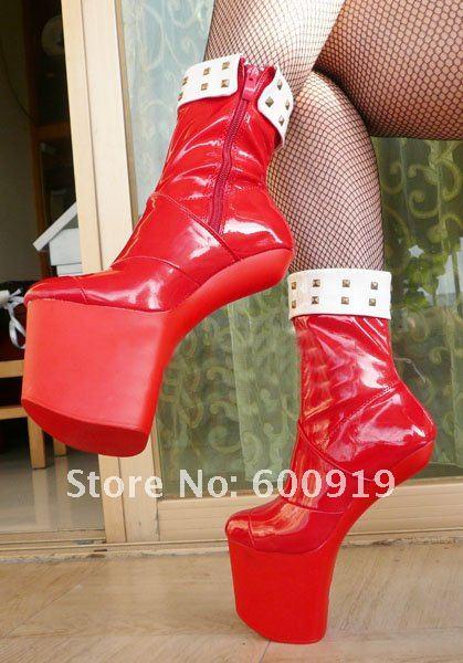 20cm High Height  Sex boot PU Platform Hoof Heels Ankle  Boot No.WG03R high boot