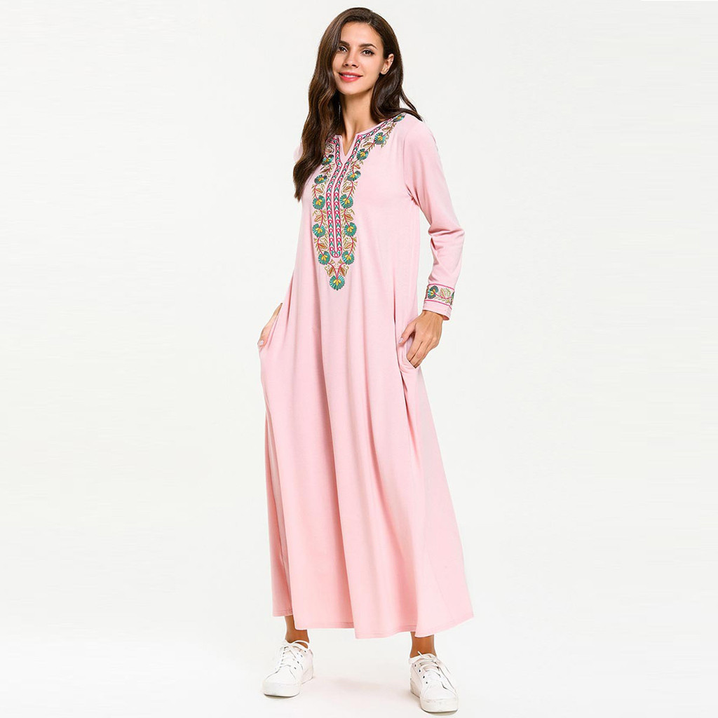 Women Abayas Dubai Muslim Maxi Dress Flowers Print Turkey Malaysia Loose Long Sleeve Arab Dress Islam Jilbab Dress 4.29